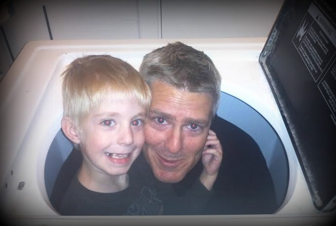Hudson and Lucas in the washer