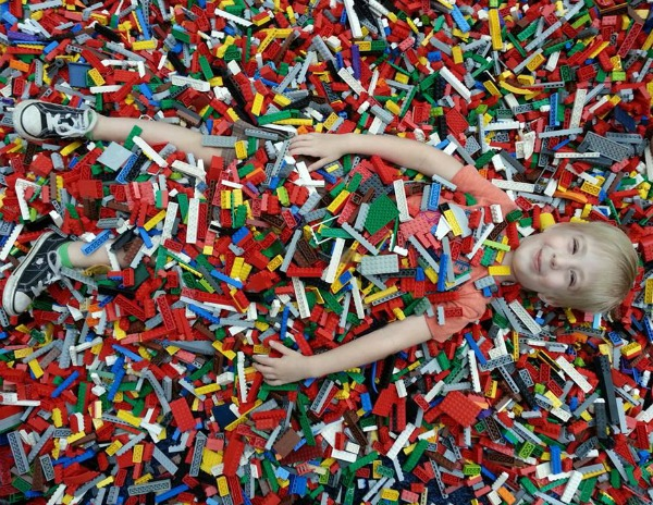 Hudson buried in LEGOs